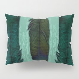 Mint green and feathers Pillow Sham