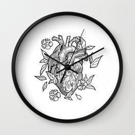 heart black white Wall Clock
