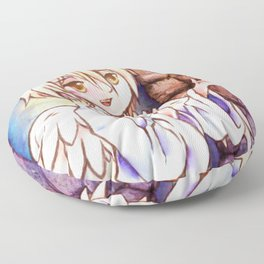 Angel and Dove Cute Original Anime Watercolor Painting Floor Pillow