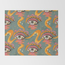Cosmic Eye Retro 70s, 60s inspired psychedelic Throw Blanket