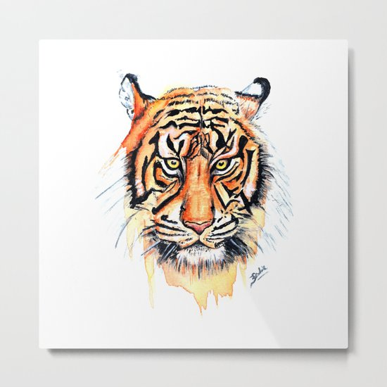 Tiger (Watercolor) Metal Print