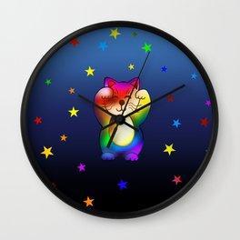 Cute rainbow lucky cat with stars Wall Clock