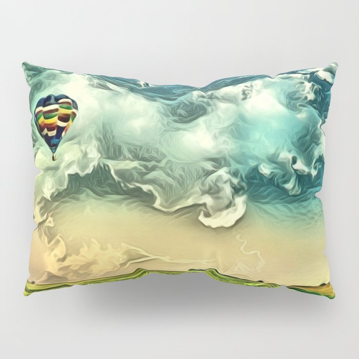 Air Balloon in the Sky with Clouds over the Landscape Pillow Sham