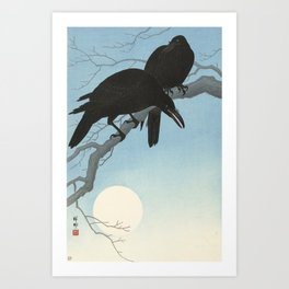 Two crows on a branch, Ohara Koson, 1927 Art Print