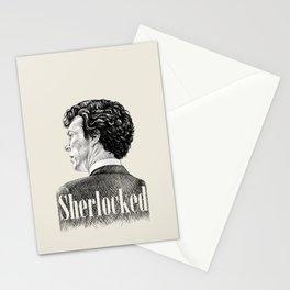 Sherlocked - Sherlock Holmes Benedict Cumberbatch Crosshatch Etching Stationery Cards