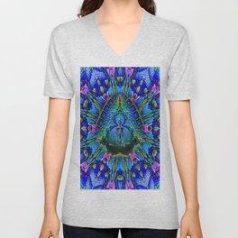 Meditating Skeleton Blue Purple Colorful Geometry Pattern Unisex V-Neck