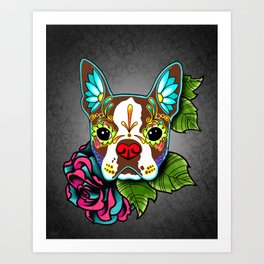 Boston Terrier in Red - Day of the Dead Sugar Skull Dog Art Print