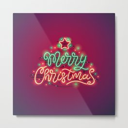 Merry Christmas Colorful Neon Sign Metal Print