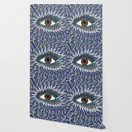 Origami Chakra Eye - Chocolate Brown Black Wallpaper