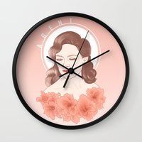 agent carter Wall Clocks featuring First Name: Agent by Neenya Prints