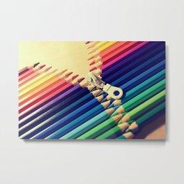 Crayon Zip Metal Print