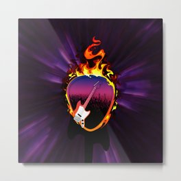Flaming Electric Guitar Pick Metal Print