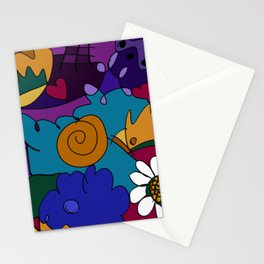 """Before the Celebration"" bold, colorful doodle art Stationery Cards"