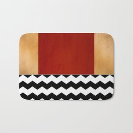 Shiny Copper Crimson Red And Black And White Chevron Pattern Bath Mat