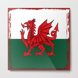 Y Ddraig Goch Grunge Welsh Flag Metal Print