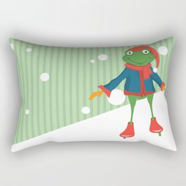Ice Skating Frog Rectangular Pillow