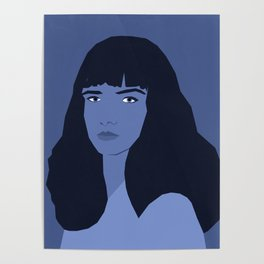 Blue woman portrait, abstract. Poster