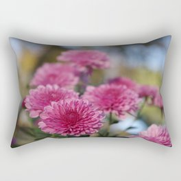 Rosy Chrysanthemum with gold leaves, blue sky Rectangular Pillow