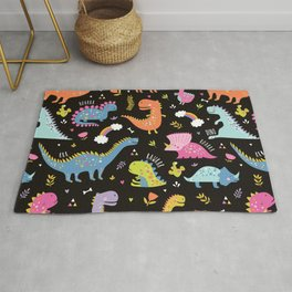 Dinosaurs Black Background Rug