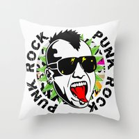 punk Throw Pillows featuring punk by mark ashkenazi