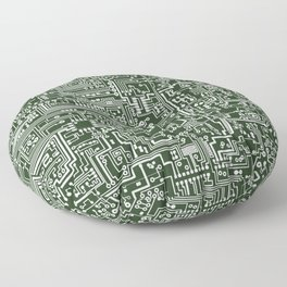 Circuit Board // Green & White Floor Pillow