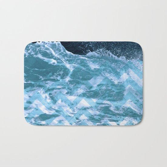 Blue Chevron Bath Mat