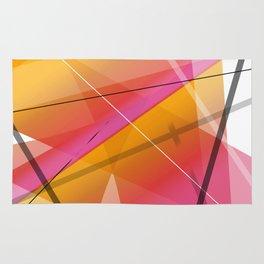 Cranberry Orange Geometric Abstract Art Rug