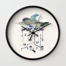 Rainy in the back yard Wall Clock
