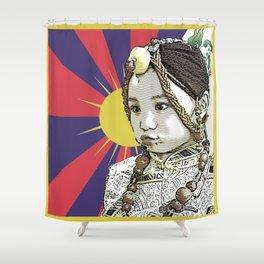 A little Tibetan girl Shower Curtain