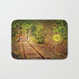 Old train track and speed sign Bath Mat