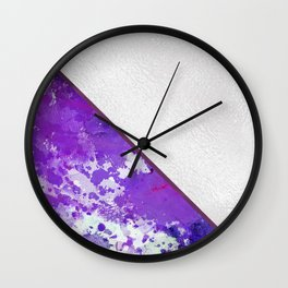 Abstract violet lilac white watercolor paint splatters Wall Clock