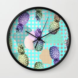 Pineapple Summer Rainbow Rose Gold Wall Clock