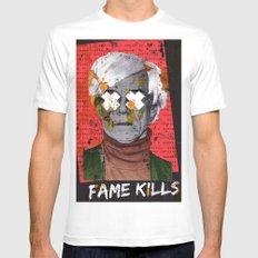 Fame Kills MEDIUM White Mens Fitted Tee