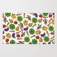 vegetables Area & Throw Rugs featuring Vegetables by Alisa Galitsyna