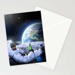Astronaut on the Moon with beer Stationery Cards