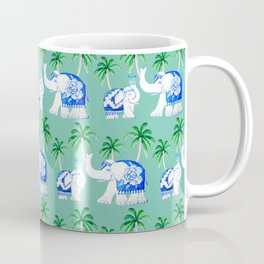 Elephant Chinoiserie, mint green with palm trees Coffee Mug