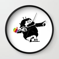 banksy Wall Clocks featuring Banksy + Android = Bankdroid by Williams Davinchi