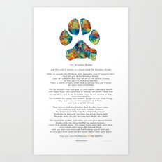 Rainbow Bridge Poem With Colorful Paw Print by Sharon Cummings Art Print