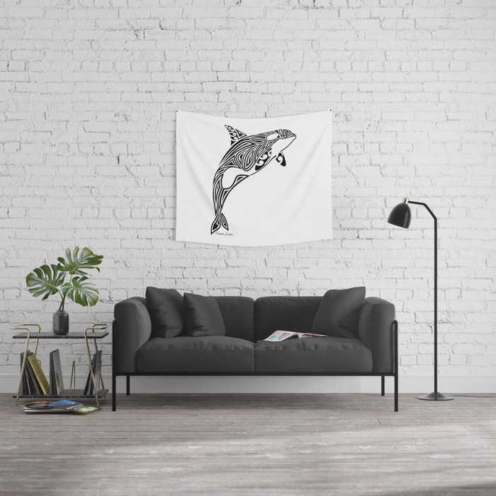 Tribal Orca Wall Tapestry