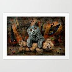 Cat Diesel with teddybear ! Art Print