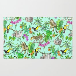 Rainforest Friends - watercolor animals on mint green Rug