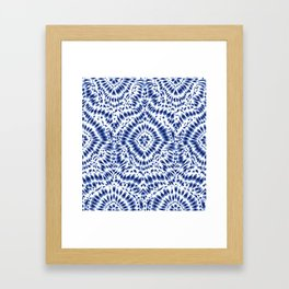 Indigo Blue Tie Dye Textile Pattern Framed Art Print