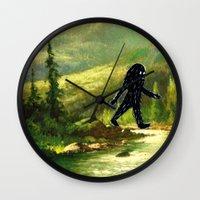 sasquatch Wall Clocks featuring Sasquatch by Andy Detskas