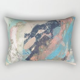 Cotton Candy: a colorful abstract mixed media piece in pastel green, pink, blue, and white Rectangular Pillow