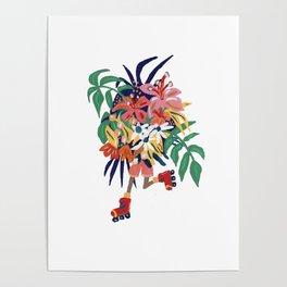 Floral Roller Babe Poster