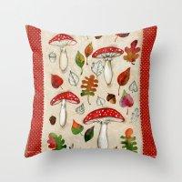 mushrooms Throw Pillows featuring Mushrooms by Minasmoke