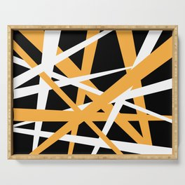 Yellow White and Black Abstract Stripes Serving Tray