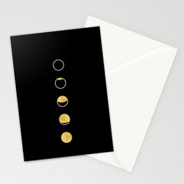 Moon Phase Wall Tapestry, Lunar Cycle, Black and Gold, Black and White, Gold Circles, Geometric Stationery Cards