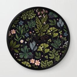 Herbarium ~ vintage inspired botanical art print ~ black Wall Clock