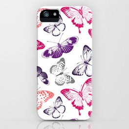Colorful Nature Lover's Environmental Beautiful Butterflies Pattern iPhone Case